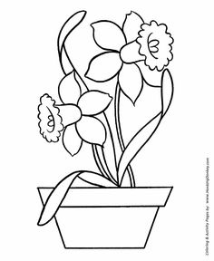 Easy Coloring pages | Daffodils in Pot