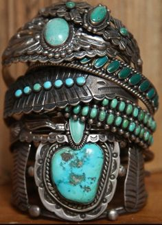 Navajo and Zuni silver and turquoise bracelets, ca. 1920-70s, Arizona and New Mexico.