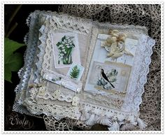 Shabby Chic Inspired altered art book page lace fabric beads reproduction images