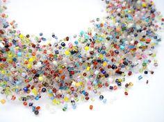 FREE SHIPPING. Multi Colored Necklace Sea by UkrainianBeadJewelry