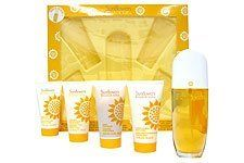 Brand New In Box Sunflowers By Elizabeth Arden 5 PIECE Gift Set for Women by Elizabeth Arden. $34.95. This gift set includes a 1.7 oz Eau De Toilette Spray, a 1.7 oz Perfumed Body Lotion, a 1.7 oz Hydrating Cream Cleanser for the body, a 1.7 oz Gritty Foot Polish, and a 1.7 oz Cooling Bubbles Foot Lotion. Created by the design house of Elizabeth Arden in 1993, Sunflowers is classified as a refined, water fragrance. This feminine scent possesses a blend of fruity, f...