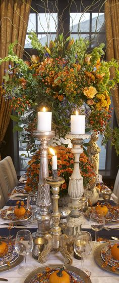 Autumn Tablescape #Thanksgiving #fall #tablesetting