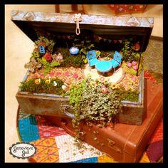 "My new miniature garden line, ""Gypsy Garden"", I developed for @Magnet Works, Ltd / Studio M!  # miniature, mini, garden, fairy, suitcase, trunk, planter, Genevieve Gail"