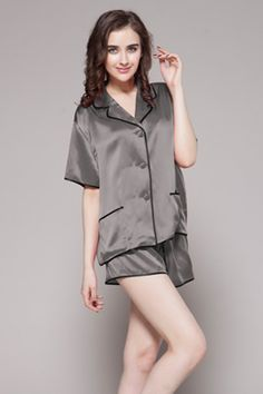 商品番号: 2103【22匁】レディース シルクパジャマ【ショット】http://www.lilysilk.jp/22-momme-contra-short-silk-pajama-set