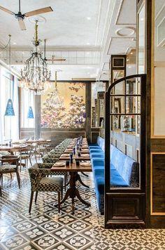 Luxurious interior design in a fantastic restaurant. Design Hotel, Restaurant Design, Decoration Restaurant, Deco Restaurant, Luxury Restaurant, Restaurant Ideas, Industrial Restaurant, Restaurant Banquette, White Restaurant