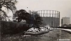 """Caption: """"Black and white photograph of Sabey's waste disposal barges at Willesden"""" Waste Disposal, Canal Boat, Greater London, London Life, Old London, Westminster, Rivers, Caption, Boats"""