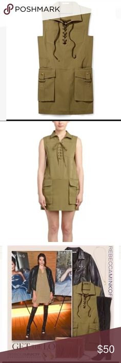 Rebecca minkoff Alyson military cargo Lace up $348 Great military green dress. Fun with knee high boots and leather jacket :) has a Lace up front with large pockets on side. New with tags. Size small. Rebecca Minkoff Dresses Midi