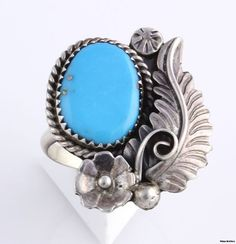 Floral Native American Ring - Sterling Silver Turquoise Copper Navajo Vintage | eBay