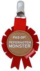 Pepernotenmonster: vilten button / medaille voor Sinterklaas. Leuk bij de intocht :-)