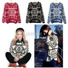 Women Knit Geometry Design Printed Long Sleeve Pullovers Sweater Fast Delivery. http://www.cndirect.com/women-knit-geometry-design-printed-long-sleeve-pullovers-sweater-fast-delivery.html