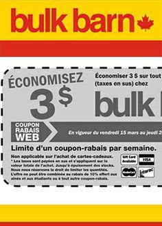 Nouveau coupon Bulk Barn. Fin le 28 mars.   Gagnez un voyage VIP au TIFF. fin le 28 mars.   http://rienquedugratuit.ca/concours/gagnez-un-voyage-vip-au-tiff/