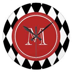 Black White Harlequin Pattern, Red Monogram Large Clock