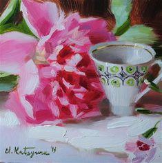 "Daily Paintworks - ""Cup and Peony"" - Original Fine Art for Sale - © Elena Katsyura"