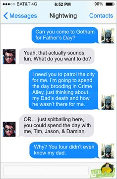 From Superheroes Network | textsfromsuperheroes: Happy Father's Day  ... Franklin Richards, Superhero Texts, Sons Day, Infinite Earths, Scott Lang, Power Man, Lex Luthor, Stand Up Comedians, Batman Family