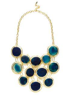 Isharya Blue Agate & Gold Cutout Disc Bib Necklace