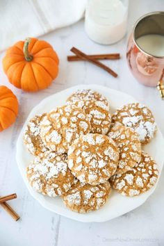 Pumpkin Crinkle Cookies are light, soft, and cake-like with warm, flavorful pumpkin spices. You'll love this easy fall cookie coated in powdered sugar that cracks as it bakes. Chocolate Chip Shortbread Cookies, Toffee Cookies, Chocolate Marshmallows, Crinkle Cookies, Easy Cookie Recipes, Cookie Desserts, Pumpkin Recipes, Dessert Recipes, Fall Recipes