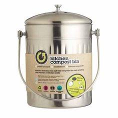 Kitchen-Stainless-Steel-Compost-Bin-5-Lt-Worktop-Composter-Odour-Carbon-Filter