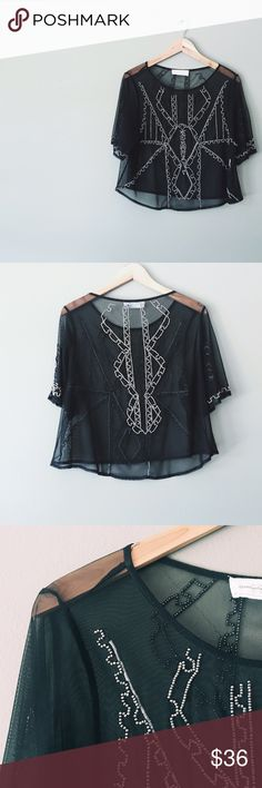 """Modern Gatsby Style Box Shirt Has the feel of a """"crop top"""" but is too long to be considered one. Amazing flowy fit!  Worn best with a black lace tank top or beautiful black bra. Shirt is fully see through. Tops"""