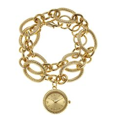 LOUIS ARDEN LA7204 Gold-Tone Chain-Link Watch ($20) ❤ liked on Polyvore featuring jewelry, watches, stainless steel bracelet, gold tone jewelry, stainless steel wrist watch, bracelet watches and bracelet jewelry
