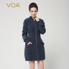 Find More Down & Parkas Information about VOA navy blue heavy silk solid color Cotton padded jacket zipper minimalist  winter jacket stand collar female coat M7233,High Quality coat hoodie,China coat zipper Suppliers, Cheap coat organizer from VOA Flagship Shop on Aliexpress.com