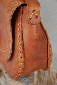 Vintage 1970s Handtooled Leather Shoulder Bag by SoftFocusVintage