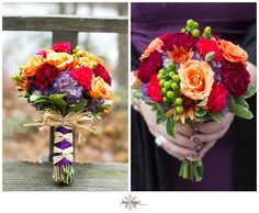 Vibrant red, orange, purple, and pink bouquet! Jaye Kogut Photography  www.jayekogutphotography.com @Jaye Kogut