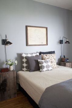Muted Colors: Calm and Relaxed in Monterey, California | neutrals + gray bedroom, wind chart | DesignSponge