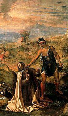 Degollación de Santiago, de Navarrete el Mudo. Se encuentra en el Monasterio de El Escorial y data del año 1571.