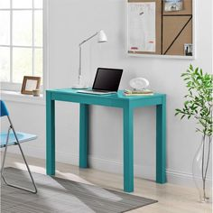 Blue Teal Writing Desks For Small Spaces, Teens, Mens Or Ladies Writing Desk  Is Modern And Stylish! Blue Simple Work Desk With Drawer Is Perfect For ...