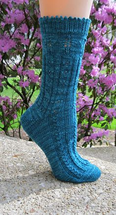 "Kaika is the Japanese word for ""bloom"" and this toe up sock is blooming with gorgeous stitches and techniques. The design debuted in my April 2015 KAL and features Japanese-inspired stitches and a Japanese short row heel."
