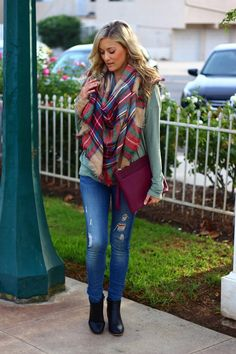 Plaid Scarf, Distressed Denim, Sole Society Clutch, Chadwicks Booties