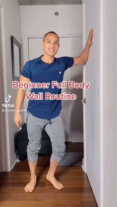 Beginner full body wall workout routine you can do at home. For FULL-LENGTH beginner and intermediate videos, sign up to my online courses at courses.justinagustin.com! Exercise from the comfort of your own home with zero gym equipment! #fitness #motivation #fitfam #fit #fitspo #health #training #healthy #lifestyle #getfit #cardio #exercise Wall Workout, Gym Workout Videos, Gym Workout For Beginners, At Home Workouts For Women, Fitness Workout For Women, Senior Fitness, Workout Challenge, Fitness Inspiration, Pilates