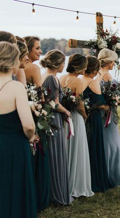 Babes in blue! Jenny Yoo Collection 2018 Bridesmaids, featuring romantic long luxe chiffon mismatched styles with flutter sleeves… Grey Bridesmaids, Mismatched Bridesmaid Dresses, Wedding Dresses, Winter Wedding Bridesmaids, Winter Bridesmaid Dresses, Bridesmaid Dresses Different Colors, Bridesmaid Colours, Wedding Bouquets, Mix Match Bridesmaids