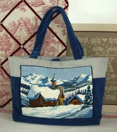 << Flea market find turned into shopper. Wool embroidered landscape freed of its frame & worked onto a canvas or denim bag. My Bags, Purses And Bags, Diy Sac, Tapestry Bag, Handmade Purses, Embroidered Bag, Jute Bags, Patchwork Bags, Denim Bag