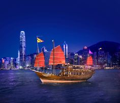 Sail Hong Kong's harbour with amazing views of the city skyline aboard Aqua Luna one of the few remaining red-sail Chinese junk boats. Aqua Luna's 45 minute Harbour Cruises run evenings or join the af - shared by Houyea