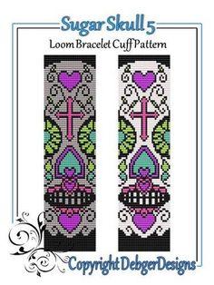 Sugar Skull 5 - Loom Bracelet Cuff