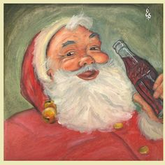 """Santa Claus Coca-Cola"" (Fan Art) #oilpaint  #artwork #sketch #illustration #draw #vintagestyle #desenh4ndo #sketchbook #drawing #art #vintage #retro #oilpainting #pencil #cocacola #christmas #1950s"
