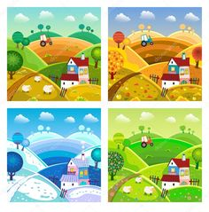 Seasons Of The Year, Four Seasons, Photo Search Engine, Alphabet Design, House On A Hill, Drawing For Kids, Preschool, Clip Art, Cartoon
