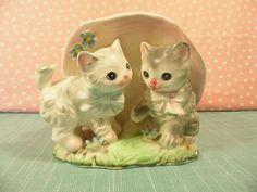 Vintage Cat Planter 2 Kittens
