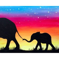 mounted on A3 Original acrylic A4 Hand Painted Elephants in Love Sunset Silhouette