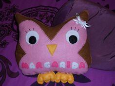 Almofada coruja em feltro, personalizada