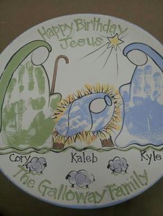"""Happy Birthday Jesus"" handprint plate"