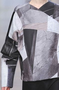 Cracked surfaces, graphic shapes & muted colours; bold printed fashion // Yiigal Azrouel AW14-15