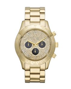 Michael Kors Mid-Size Golden Stainless Steel Layton Glitz Watch. Michael  Kors Chronograph Watch 31c81c9982
