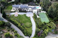 Here's an aerial view of the house. You can see the super long slide in the top right corner.