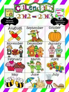 This is a set of monthly calendars for teacher use or student use. The set includes calendars for the 2012-2013 school year and a birthday chart....