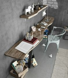 reclaimed wood shelving and desk