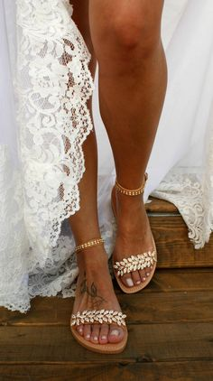 Genuine leather and crystal wedding sandals. These boho wedding shoes are the perfect match for a boho style wedding dress. Beach Wedding Sandals, Bridal Sandals, Gold Sandals, Bridal Shoes, Leather Sandals, Bridal Gowns, Wedding Dresses, Shoes Sandals, Gold Shoes