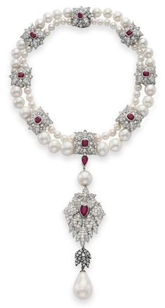 Elizabeth Taylor's La Peregrina natural pearl, diamond, ruby, and cultured pearl necklace. Auctioned off for 11.8 million dollars. La Peregrina is a historic pear-shaped pearl that has been worn by European royals since it  was found in the Gulf of Panama in the 16th century.