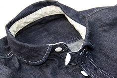 "Collar band on denim shirt ""ByBeatle"" mens work wear label"